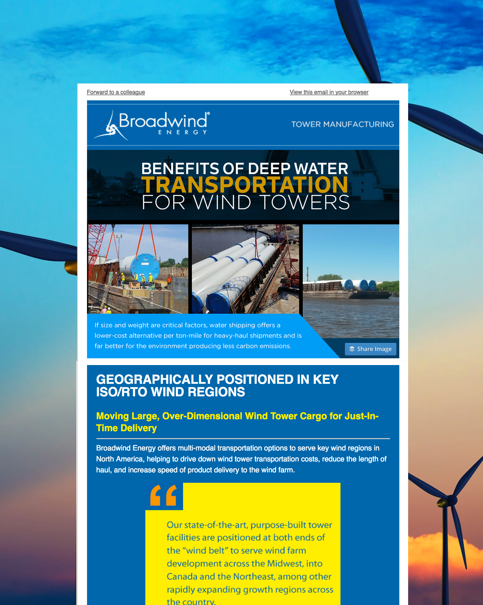 Broadwind Energy Email Design